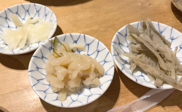 ごぼうのきんぴら、イカの柚子和え、香り沢庵