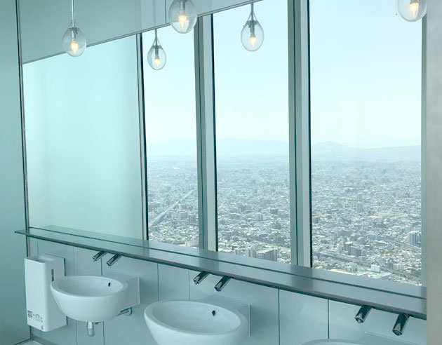 洗面台の鏡に眺望が映る