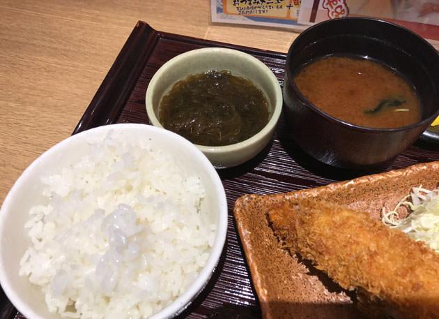ご飯と味噌汁、もずく酢