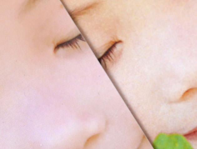 人物の肌の質感の違いを比較した画像
