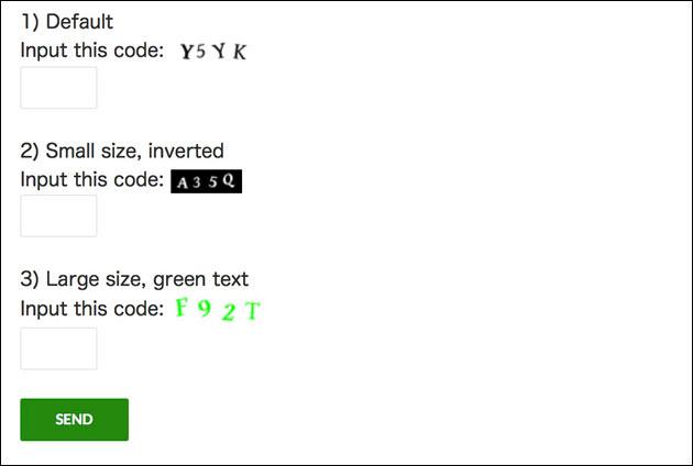 「Contact Form 7」の「CAPTCHA」画面