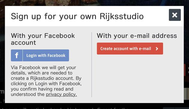 Facebookアカウントでログイン画面