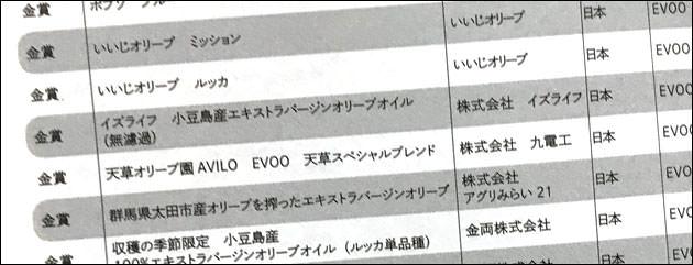 日本の受賞オリーブオイル一覧