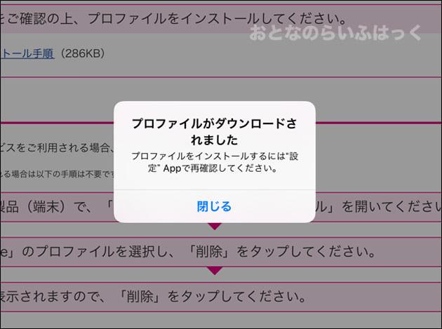 プロファイルがダウンロードされた状態
