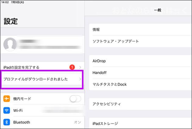 iPad Proの「設定」アプリ画面