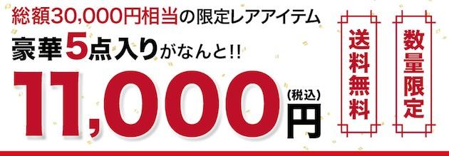 3万円相当の限定アイテム5点入りが1万1000円