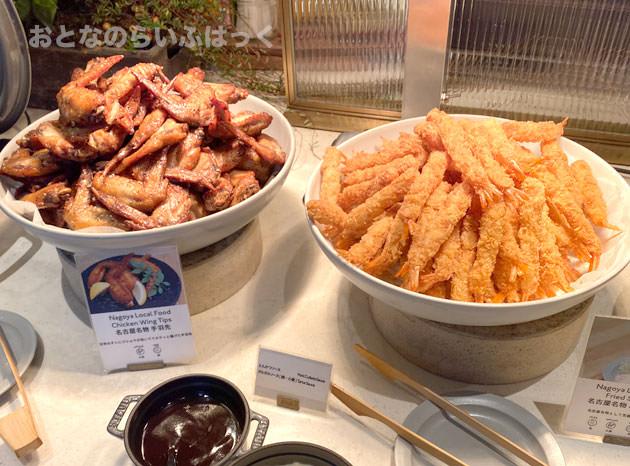名古屋名物料理、海老フライと手羽先