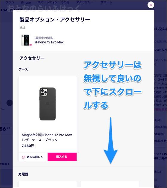 製品選択後の画面 アクセサリー表示部分