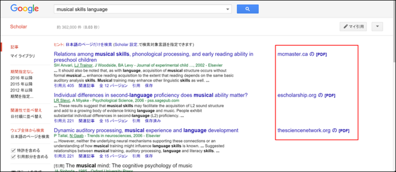 musical skills language Google Scholar