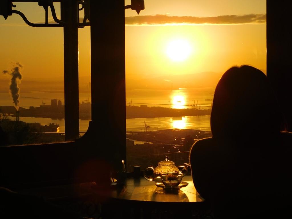 神戸布引ハーブ園のカフェからの初日の出