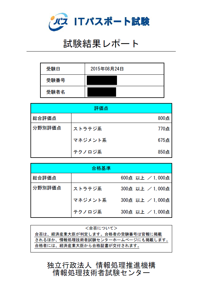 ITパスポート試験結果