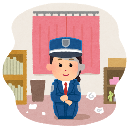 自宅に待機する女性警備員