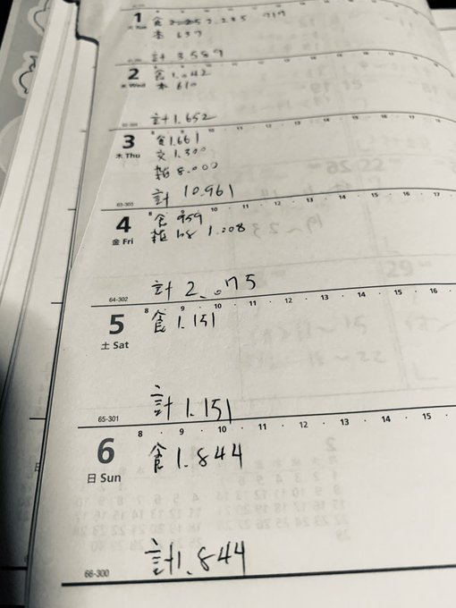 手帳に家計簿をつける