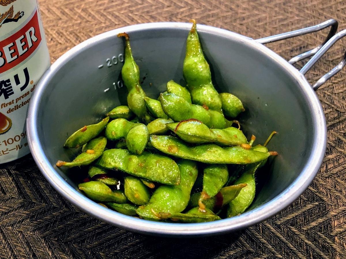 冷凍枝豆のペペロンチーノ風_タイトル