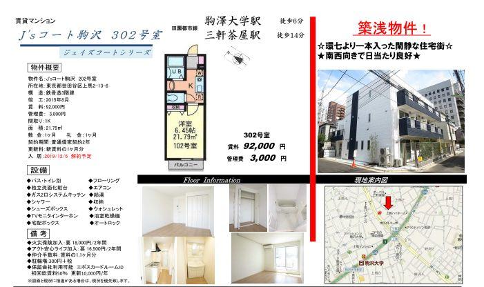 代々木上原 代々木公園 代々木八幡 駒沢大学前 マンション 単身 管理物件