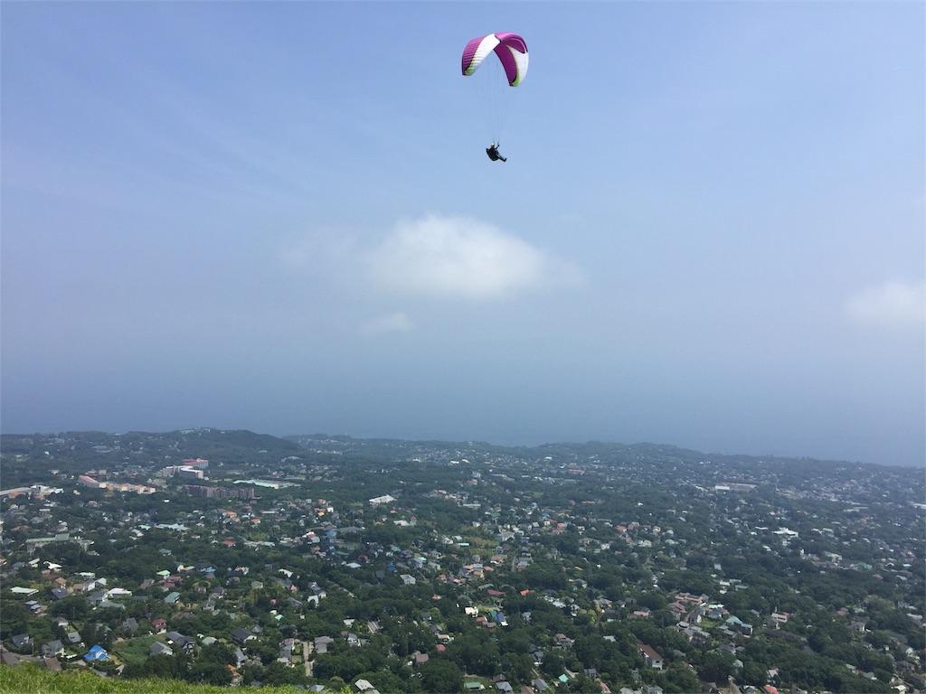大室山からパラグライダー