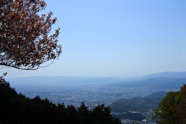 登山途中で見えた京都市街