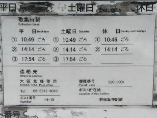 阪神電鉄野田駅前青ポスト横・赤ポスト取集時刻写真