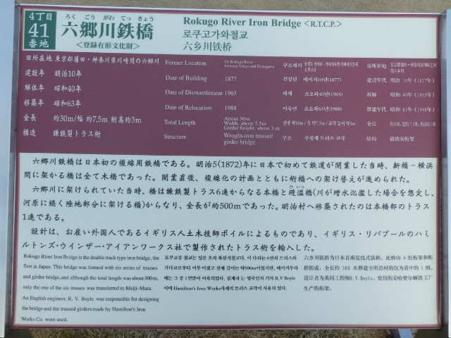 博物館明治村・六郷川鉄橋解説板写真