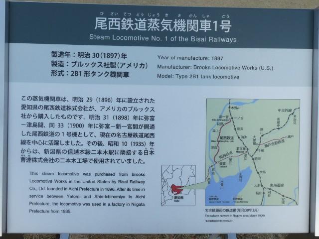 尾西鉄道蒸気機関車1号解説板写真
