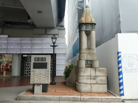 旧京橋親柱・煉瓦銀座之碑・ガス灯写真