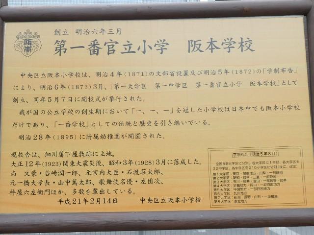 第一番官立小学 阪本学校跡解説板写真