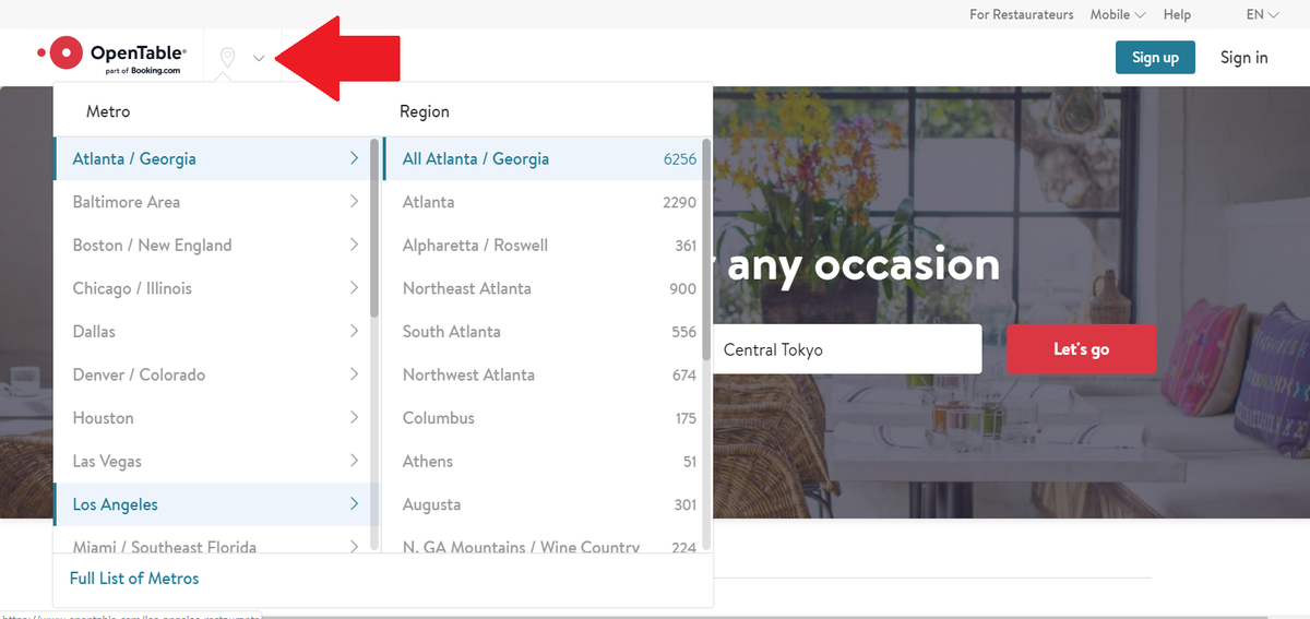 【OpenTable】公式ウェブサイト エリア選択画面(英語表記画面)