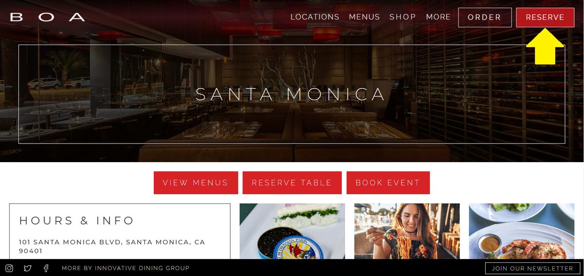 レストラン公式ウェブサイト①【BOA Steakhouse SantaMonica】