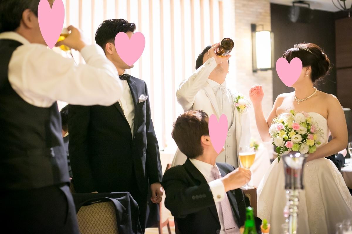 結婚式披露宴 演出 テーブルラウンドの様子 ウェディングドレス②