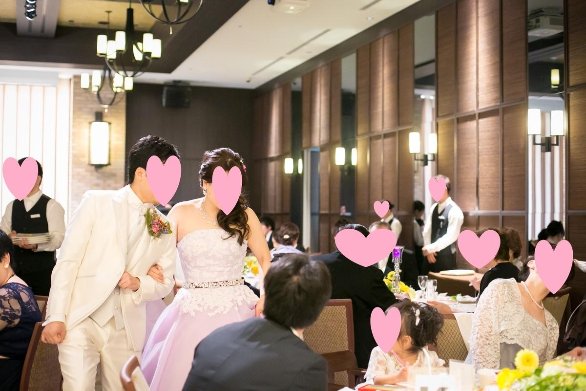 結婚式披露宴 演出 テーブルラウンドの様子 カラードレス