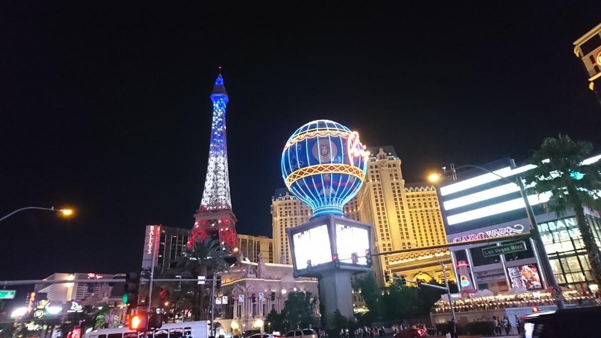アメリカ ラスベガス 街並 パリス ホテル 夜景