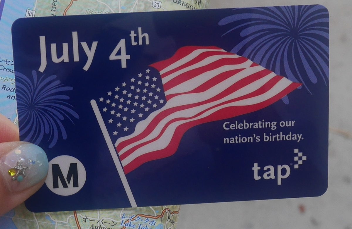 アメリカ ロサンゼルス 地下鉄 バス 乗車券 Tapカード アメリカ国旗 独立記念日