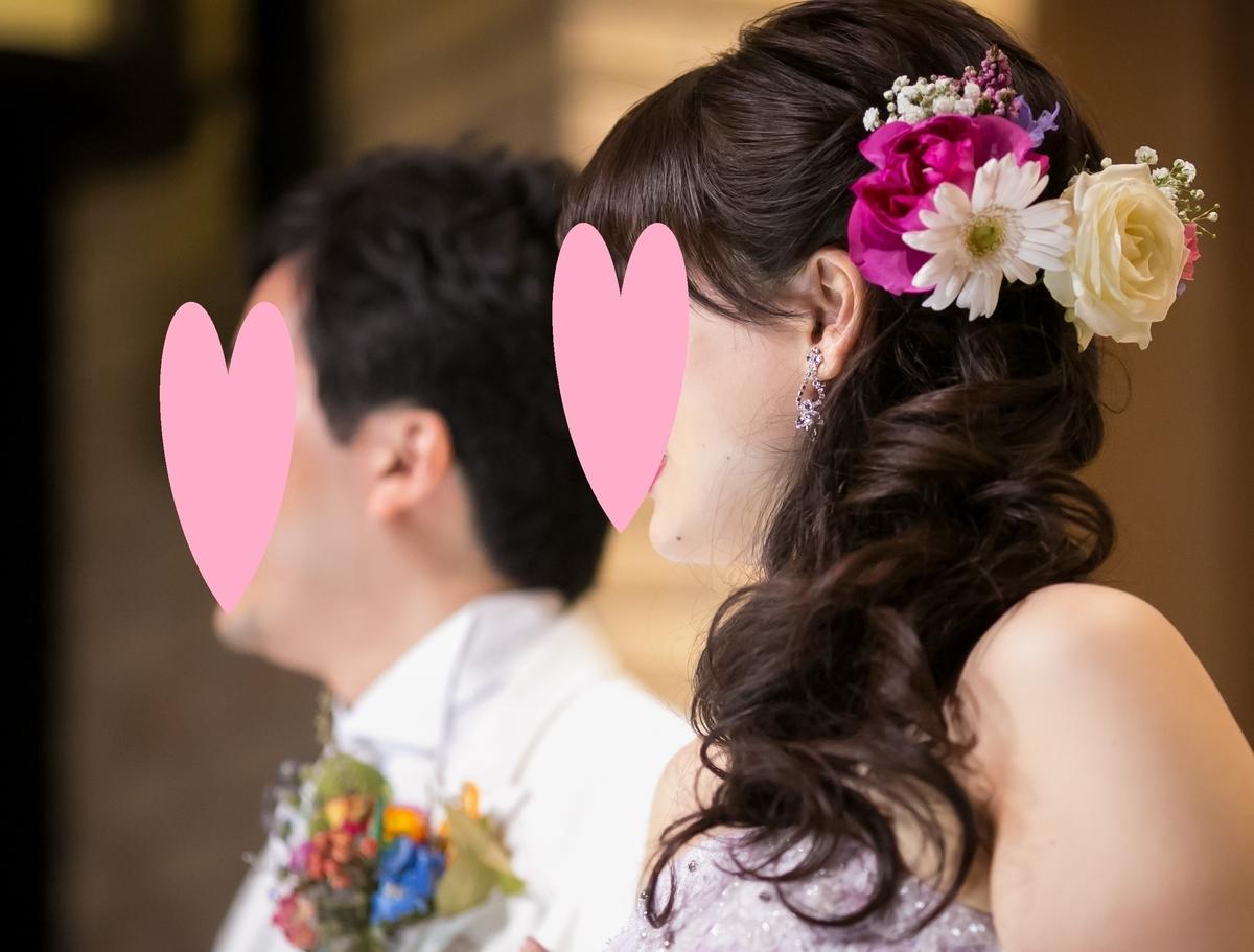 結婚式 披露宴 お色直し後 ヘアアレンジ 生花 パープルドレス