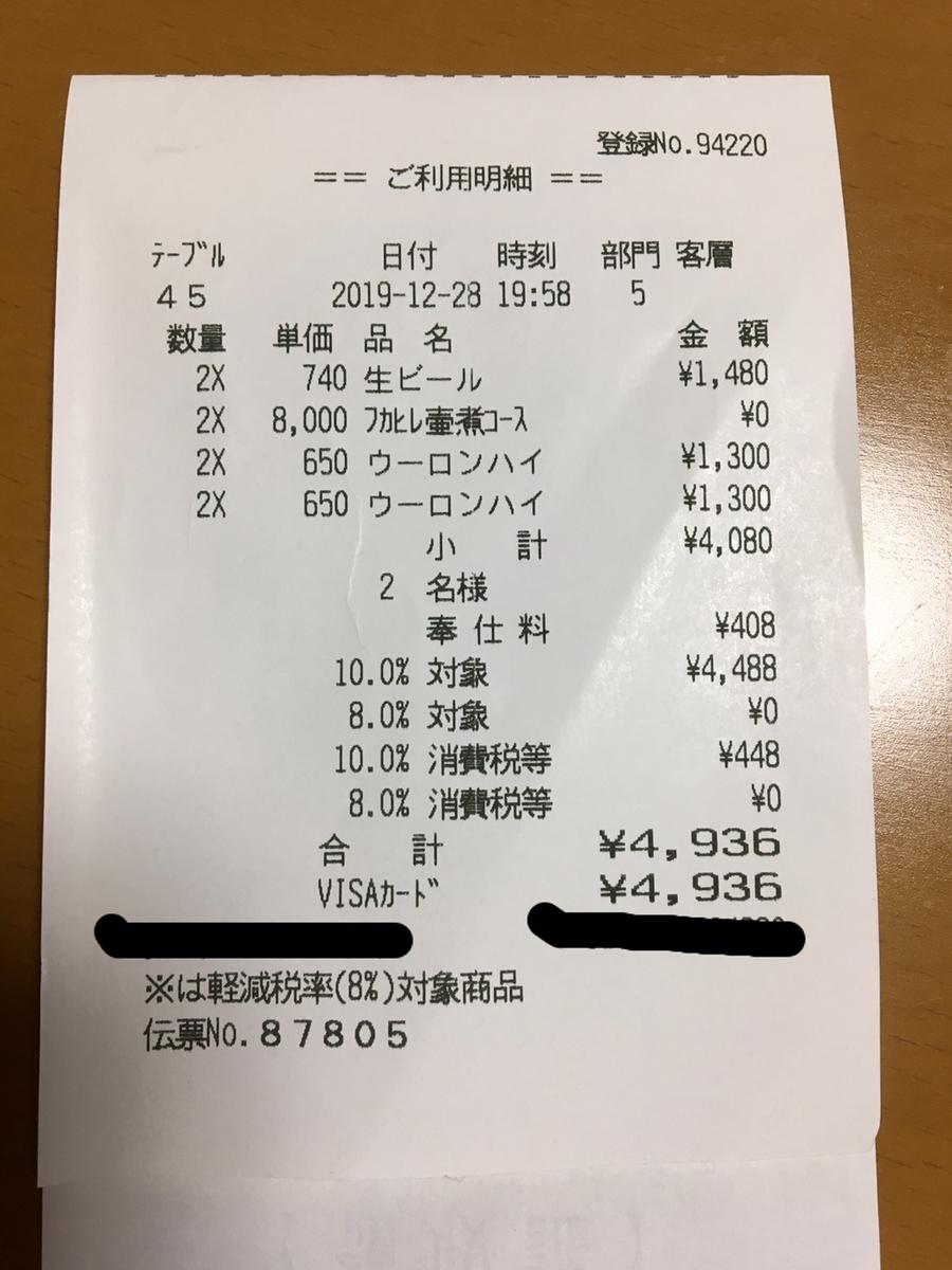 ルーキス 東天紅 上野本店 婚礼1周年記念ディナー 領収書 別途ドリンク