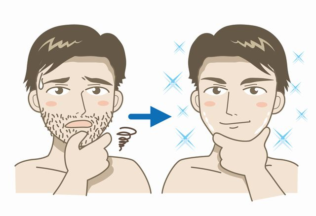 無精髭を剃って清潔感アップ