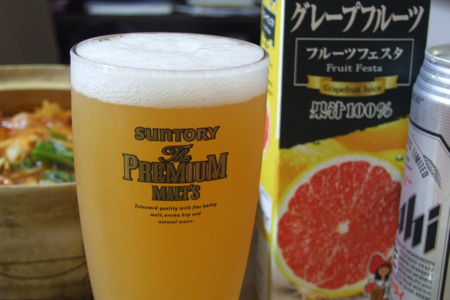 グレープフルーツジュース+スーパードライ=グレープフルーツパナシ
