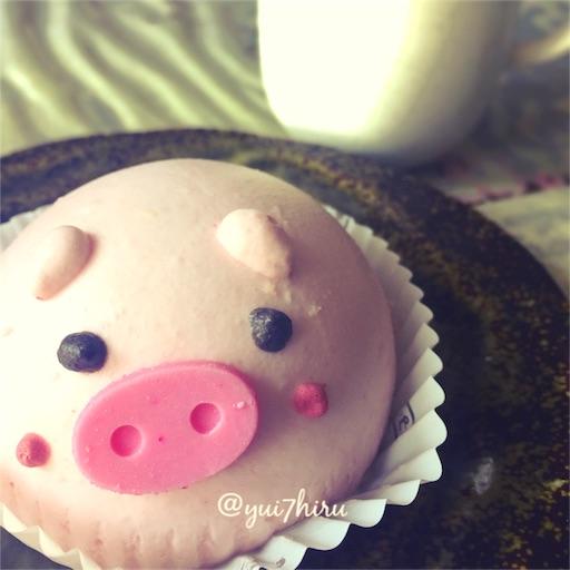 ぶたさんいちごムースケーキの顔