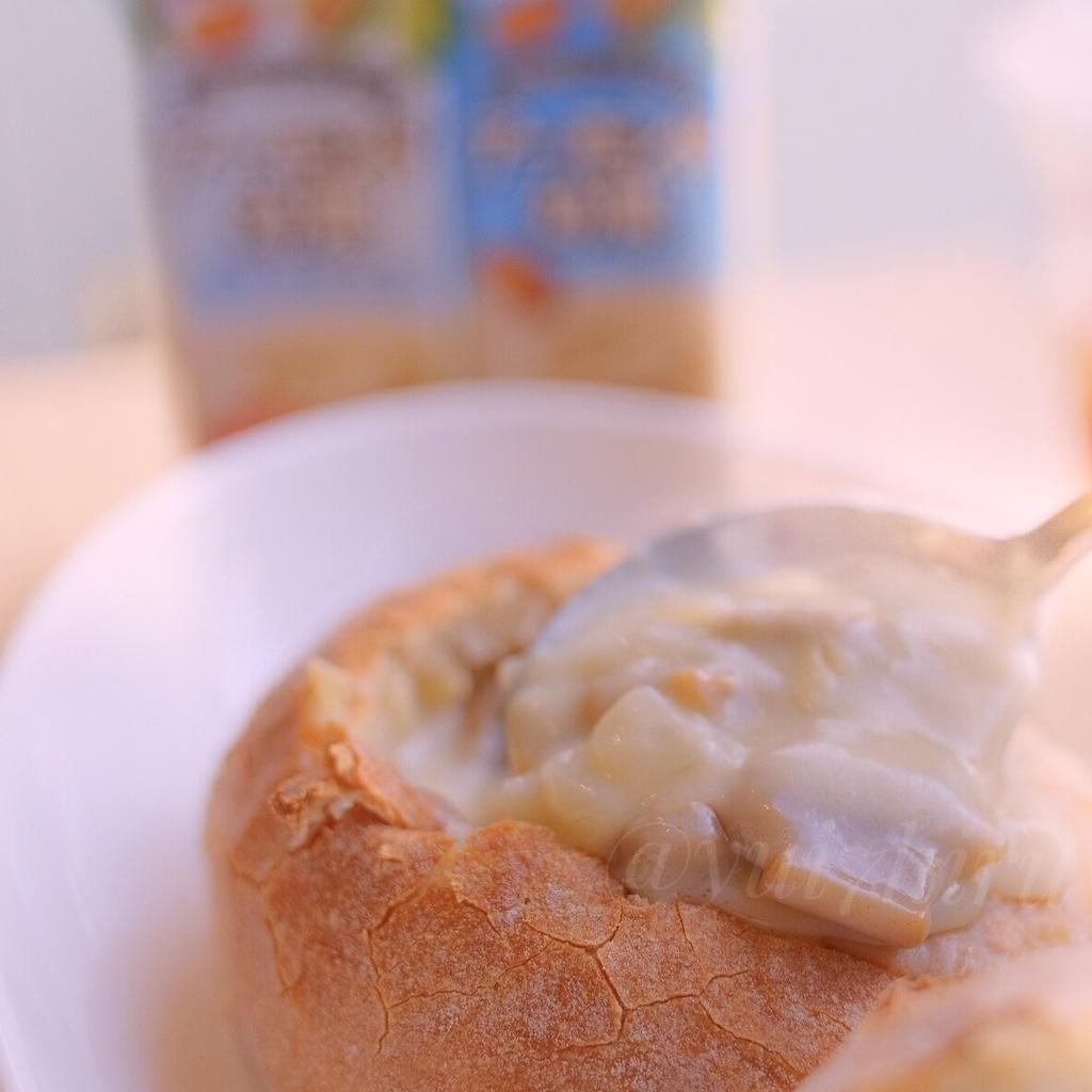 石窯スープパン3種チーズときのこのポタージュをすくってみた
