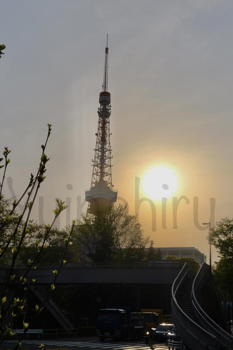 東京タワーと夕日を御成門駅前から