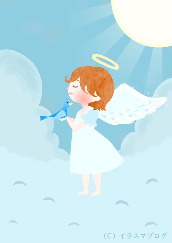 天使 イラスト 青い鳥