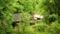 日本民家園、長野県の宿場にあった三澤家住宅を見下ろす。