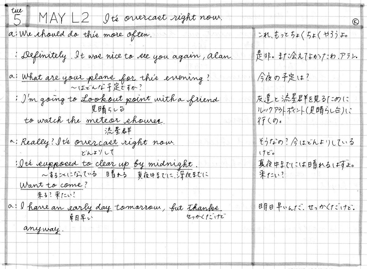 【英会話楽習】2020年5月5日