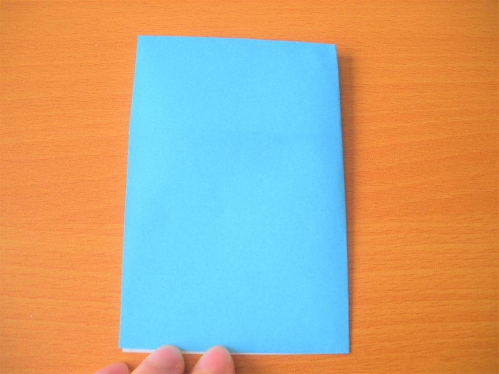 折り紙の右端と左端を合わせて折った画像