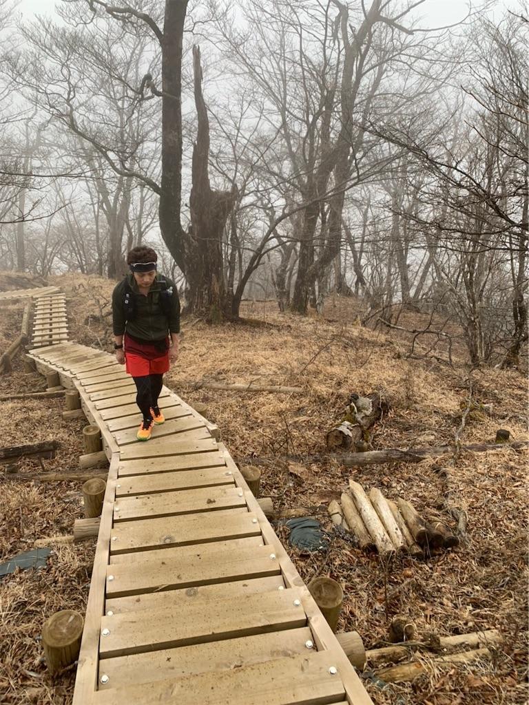 山道に整備された木製の階段
