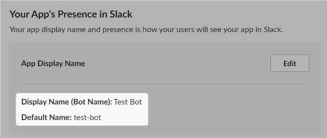 Slack Bot Display Name