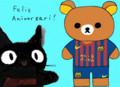 [お祝い][お絵描き]リラックマ + FCバルセロナのシャツ