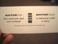 [静止物][オランダ]アンネ・フランクの家、チケット
