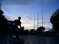 [鹿島アントラーズ][風景写真]ジーコ像とカシマスタジアムで黄昏部活動