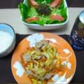 [食べ物]白いご飯、ふーチャンプルー、海ぶどうのサラダ