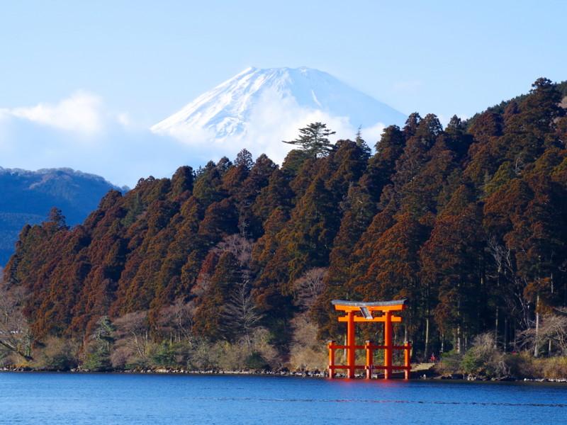 芦ノ湖 + 箱根神社の鳥居 + 富士山